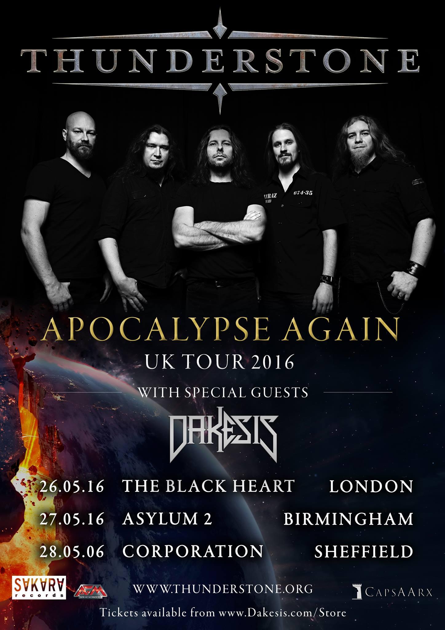 Thunderstone Apocalypse Again UK Tour 2016 with Dakesis